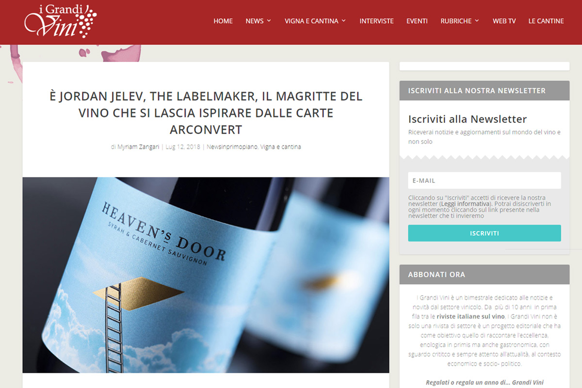 The Labelmaker featured on I Grandi Vini