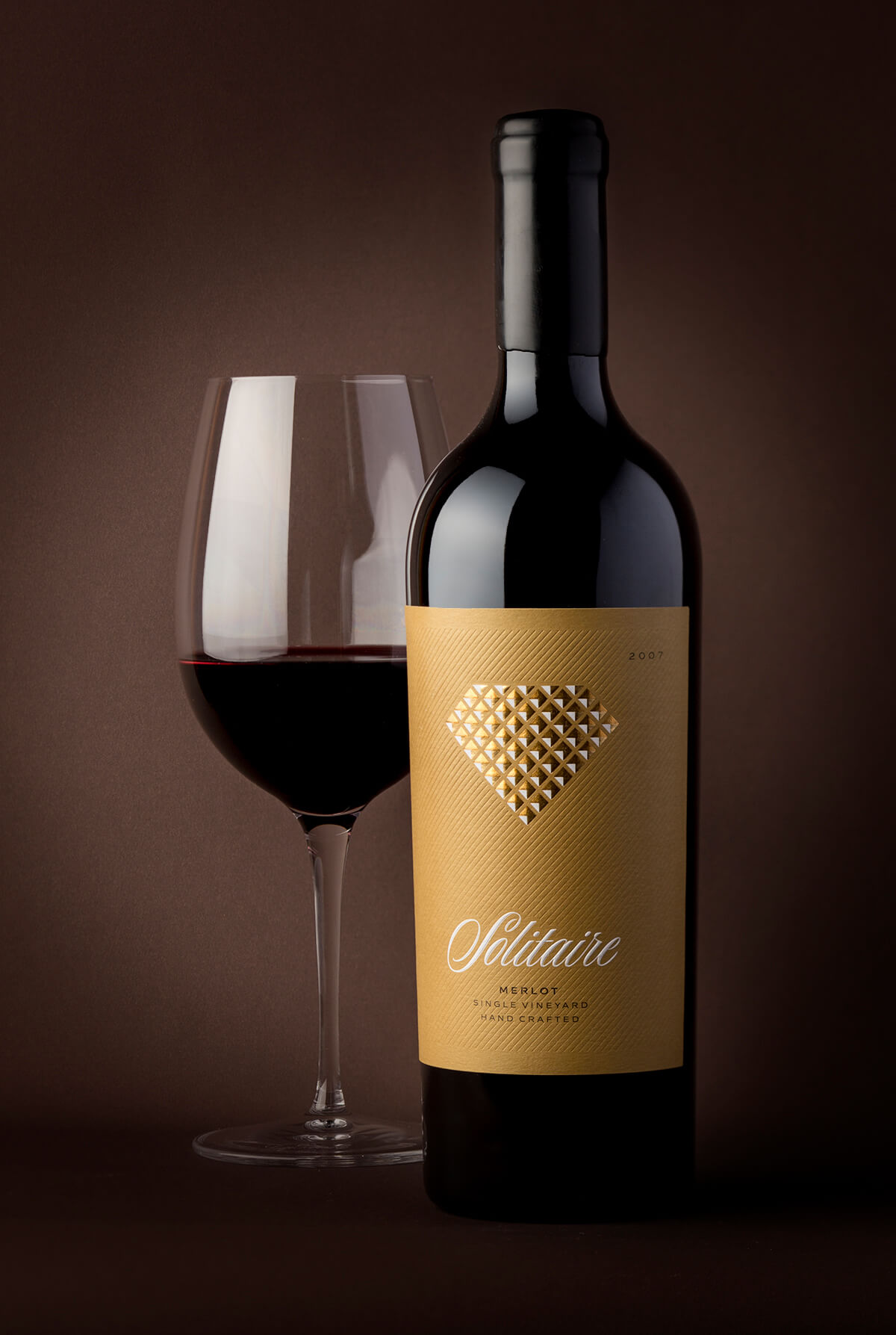 solitaire wine label design