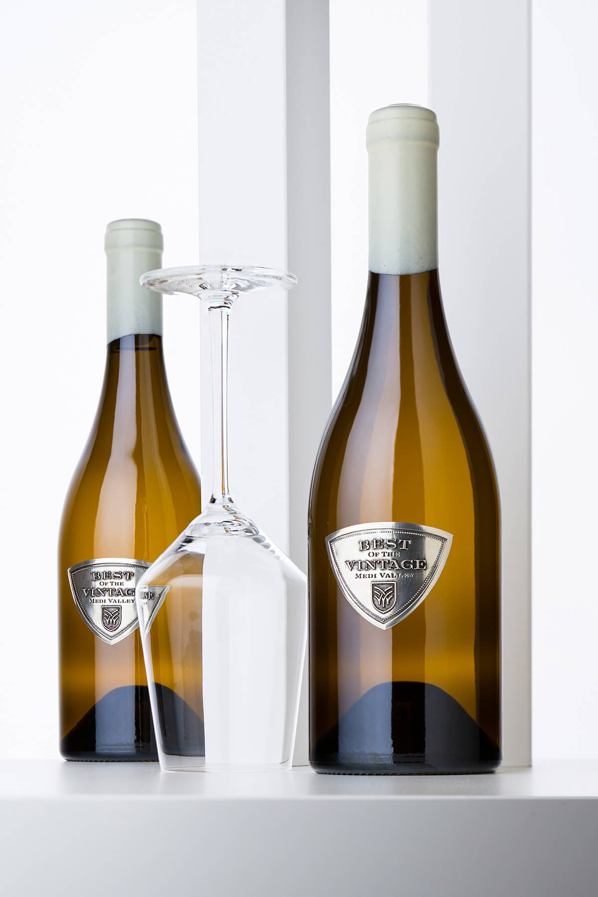 wine with metal label